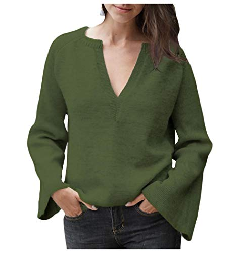 CuteRose Womens Skinny Bell Sleeve Pullover V-Neck Plus-Size Pure Color Sweater Blackish Green XS -