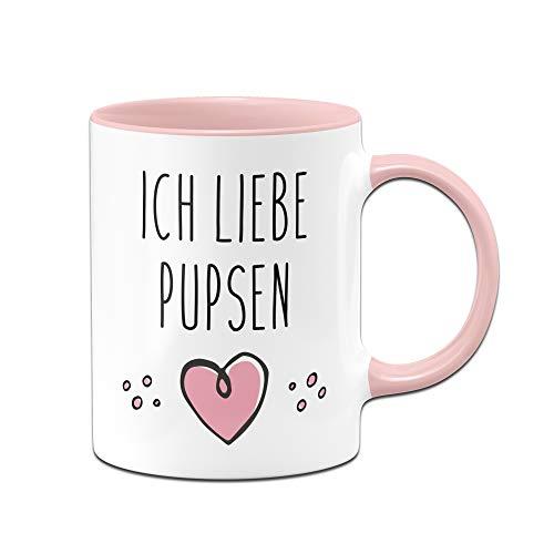 Tassenbrennerei Tasse mit Spruch Ich Liebe Pupsen, furzen Bürotasse Geschenk für Arbeitskollegen, Kollegin, Freundin Tassen mit Sprüchen lustig (Rosa)
