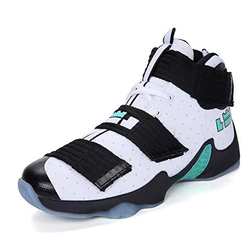 FHTD Scarpe da basket high-top unisex Antiscivolo Resistente agli urti Sketchers PU Scarpe da ginnastica Comfort Spring Fall,White,36