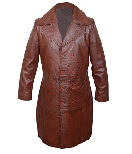 F&H Men's Will Smith Suicide Squad Deadshot Genuine Leather Long Coat brown