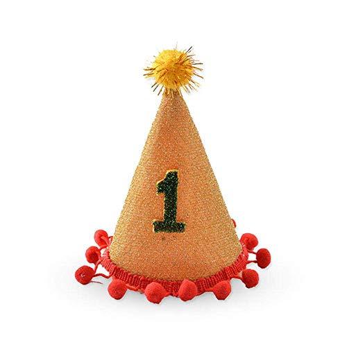 JSMeet Hund Geburtstag Hut, Party Cone Hut mit niedlichen Ball Geburtstag Clown Hut für Haustier Hund für kleine große Hund Katze - perfekte Hund oder Welpe Geburtstagsgeschenk - Champagner (Kleine Safety Cones)