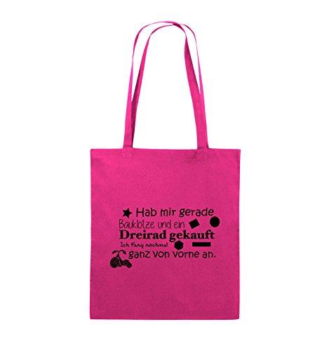 Comedy Bags - Hab mir gerade Bauklötze und ein Dreirad gekauft - Neuanfang - Jutebeutel - lange Henkel - 38x42cm - Farbe: Schwarz / Silber Pink / Schwarz