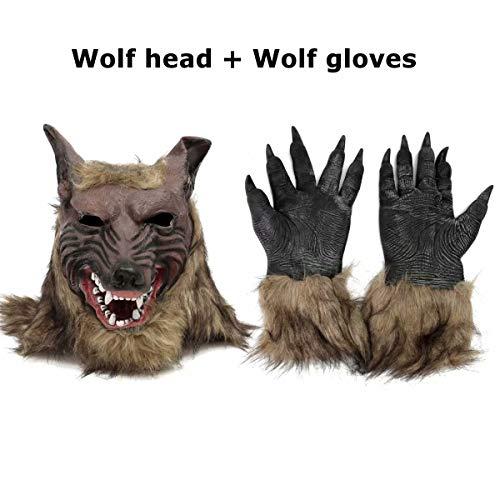 Ungfu Mall Latex Gummi Wolf Head Hair Maske Werwolf Handschuhe Party Scary Halloween Cosplay