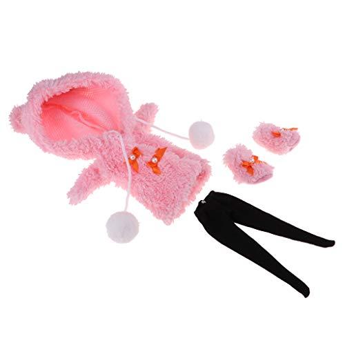 Baoblaze Puppenkleidung Plüsch Mantel + Stiefel + Leggings Winterkostüm Für Blythe Puppe Dress Up - ()