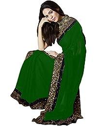 Swara Fashion Women's Georgette Multi Work Saree(SFA-3214-C_Green)