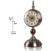 GCCI Table Clock European-Style Metal Clock Living Room Clock Creative Clocks, Jade Ornaments Fashion Mute Table Clock