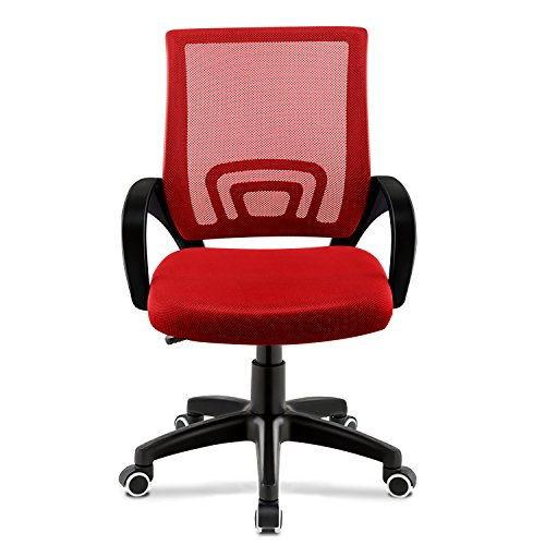 JL Comfurni Chaise de bureau pivotante et réglable en maille, dossier bas, Red, Normal Size For Adults