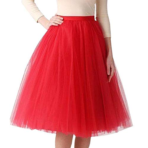 di Rock Tüll Petticoat Vintage Mesh Plissee Dance Organza Dress-up Prinzessin Größe 36-48(36-48,rot) ()