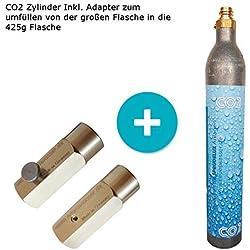 SPRUDELUX® Adaptateur de remplissage CO2 + 2 cylindres de CO2 Convient pour les machines à gazéifier Soda Stream Crystal Sodastream, Cool etc. Capacité jusqu'à 60 l d'eau pétillante par garnissage CO2