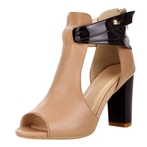 Strungten Frauen Rutschfeste High Heel Dick Mit Reißverschluss Hohl Fischmund Offene Zehen Sandalen Leder Kurze Stiefel Einzelne Schuhe Freizeitschuhe