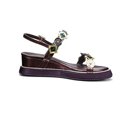 Bild von Ximu Weibliche Sandalen Sommer Neue Koreanische Leder Keil Runden Kopf Offene Zehe mit Geometrischen Farbe Wort Schuhe