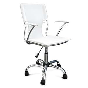 Poltrona sedia ufficio ecopelle bianca acciaio cromato for Sedia ufficio ikea bianca