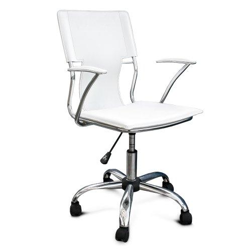 Poltrona sedia ufficio ecopelle bianca acciaio cromato ruote libere fisse M0298-08