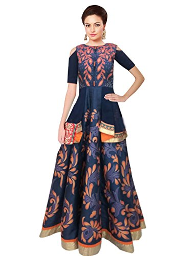 Sancom Multi Color Georgette & Gota With Digital Print Work Semi-Stitched Festivewear/Partywear/Designer Gown Suit