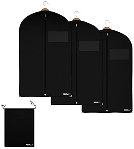 3x Premium Kleidersack - inkl. kostenlosem Schuhbeutel - 100 x 60 cm - hochwertiger Anzugsack / Kleiderhülle / Anzughülle aus atmungsaktivem Material - erstklassiger Schutz für Ihre Anzüge und (Schutzhülle Für Kleiderständer)