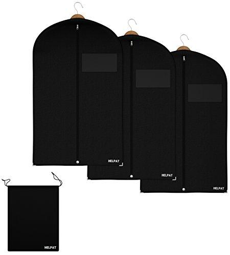 HELPAT 3x Kleidersack inkl. Schuhbeutel | 100 x 60 cm | schwarz | Hochwertiger Anzugsack | Atmungsaktive Kleiderhülle