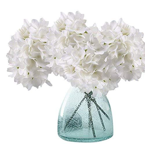 MEIWO Künstliche Blumen, 2 Pcs Real Touch Latex Künstliche Hydrangea Seide Blumen in Vasen für Hochzeit Dekor/Home Dekor/Party / Graves Arrangement(Weiß)
