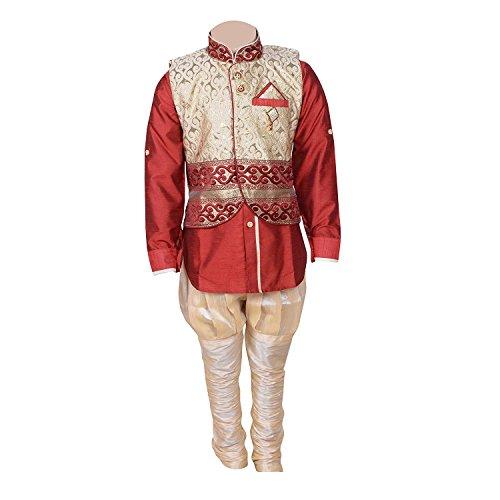 ahhaaaa Baby Boys Kurta Payjama and Waistcoat (RED354-0_Red_6-12 Months)