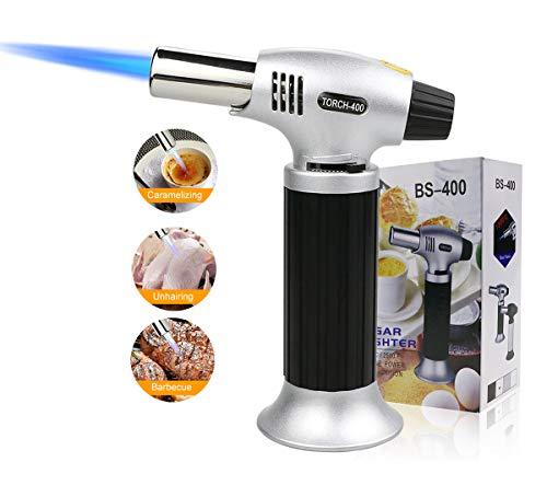 Bunsenbrenner, Nachfüllbar Küchenbrenner Fackel Verstellbar Flambierbrenner Feuerzeug mit Safety Lock, DIY/Creme/Brulee/BBQ Micro Küche Lebensmittel Butangasbrenner