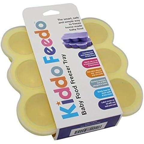 KIDDO FEEDO Recipiente para comida de bebé – Envase de silicona para congelar alimentos y papillas – 6 colores – Aprovado por la BPA y la FDA – eBook gratis del autor/dietista, garantía de por