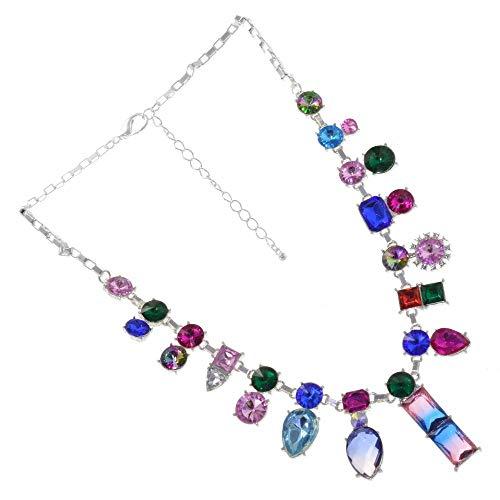 Glamorous Kostüm Schmuck: Funkelndes Statement Halskette mit Regenbogen Farben und Asymmetrisches Design (Glamorous Damen Kostüm)