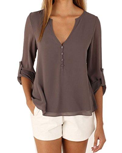 AIYUE Camicia Donna Collo a V Maniche Lunghe in Chiffon Camisetta Bluse Basic Estivo Causal Allentato Colore Solido Top(grigio,M)