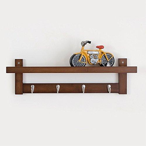 GRY 61 Cm Wand Regale Einfache Wohnzimmer Kreative Haken Lagerregal Massivholz Schlafzimmer Wand Partitionen Set Top Boxen,Braun - Box Halogen-wand