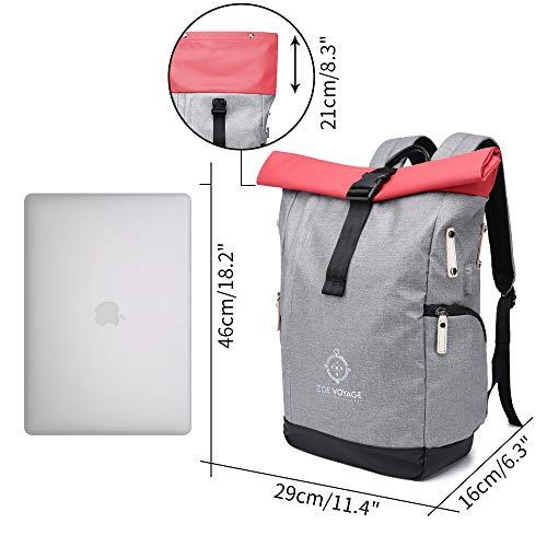 ZOE Voyage Roll Top Rucksack für Uni Reisen,Job,Damen und Herren| hochwertig, wasserabweisend|stylisher Laptop Rucksack mit Laptopfach 15,...