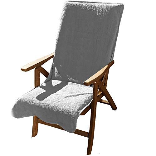 JEMIDI Frottee Schonbezug für Gartenstühle 100{9d944d38b87743f5d4f01131c7a281fe757b7ba43b117c67c99cbb69d878da90} Baumwolle Gartenstuhl 60cm x 130cm Frotteebezug Baumwolle Auflage Schonauflage Bezug Liege Sonnenliege Gartenstuhlbezug Auflagenbezug Hellgrau