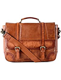 Gauge 15 Inch Washed Leather Laptop Messenger Bag Office Briefcase College Bag Satchel For Men (Tan)
