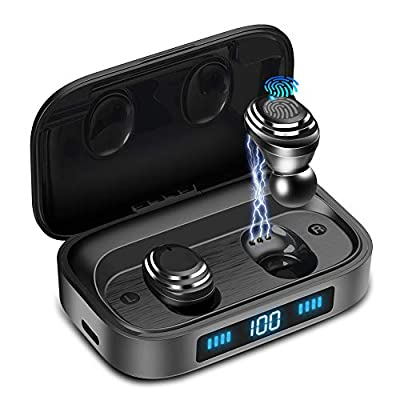 Wireless Earbuds,Xunpuls Bluetooth 5.0 in-Ear TWS Earbuds Auto Pairing Earphones with 2000mAh Charging Case LED Battery Display 95H Playtime, IPX5 Waterproof Built-in Mic Headsets for Sports Running