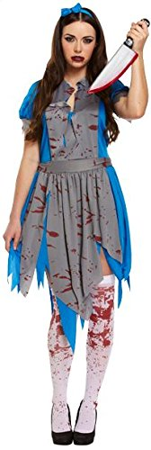(Ladies Horror Alice in Wonderland Zombie Fairytale Bloody Horror Halloween Fancy Dress Costume Outfit V00160 by Partyrama)