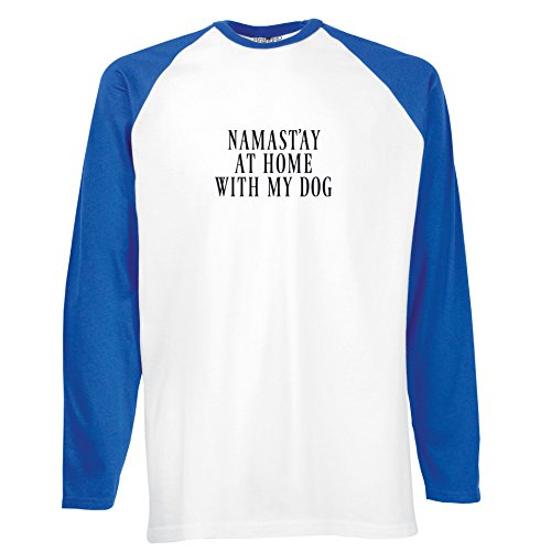 Brand88 - Namast'ay At Home With My Dog, Langarm Baseball T-Shirt Weiss & Blau