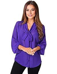 KRISP® Femmes Chemisier Col Lavallière Uni Rayures Polka Dot Smart Classique Affaires Business