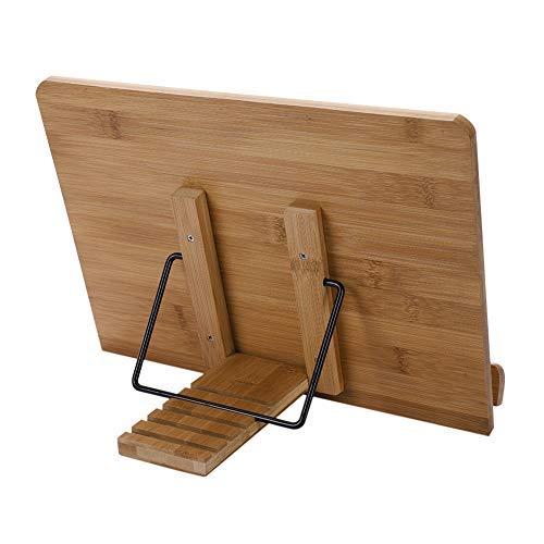Buchständer kreativ Holz Kochbuchhalter Bambus einstellbar auf den Tisch Leserahmen für Lesen Bücher iPad Notebook Rezepthalter Stabil 242mm*340mm*11mm (Dem Lesen Bücher Auf Ipad)