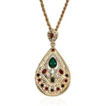 JAGETRADE Collar con Colgante de Piedras Preciosas para Mujer árabe y Musulmana, Regalo Exquisito