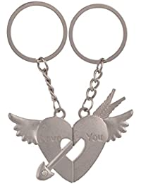 SLN Heart Shape Love Keychain Keyring Magnetic Silver Metal Keychain For Bike Bags Handbags Gift Collectible