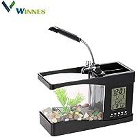 Winnes Mini USB LCD Aquarium para decoración de Escritorio de Fish Tank Clock, Kit LED
