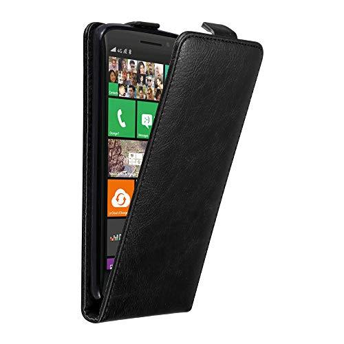 Cadorabo Nokia Lumia 930 Custodia di Finta-Pelle Flip in Nero di Notte – Protezione in Stile Flip di Similpelle Fine – Portafoglio Cover Case Wallet Book Etui Protezione