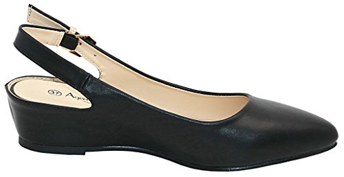 AgeeMi Shoes Femmes Slingback Heel Compenses Pointed Toe Court Chaussures Noir