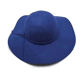 Vovotrade Della ragazza delle donne di lana tesa larga in feltro Bombetta Fedora cappello floscio Cloche (Blu)