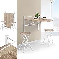 Table en bois à rabat rectangulaire Innovareds Sagittarius, pour la cuisine, la salle à manger, le bureau, le petit déjeuner et ensemble de tabourets pliants en hêtre