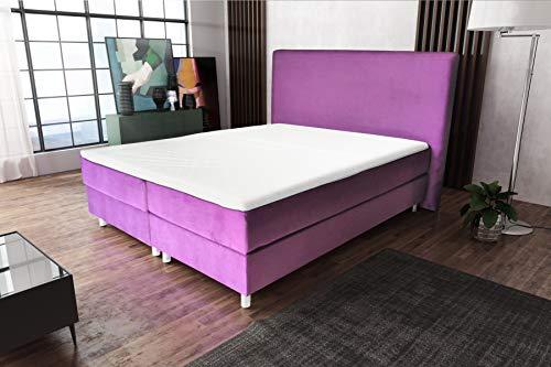Best For Home Boxspringbett Amelia mit Luxus 7-Zonen Taschenfederkernmatratze oder Bonellfederkernmatratze in Härtegrad H2, H3, H4 viele Farben und Größen (Violett, 140 x 200 cm)
