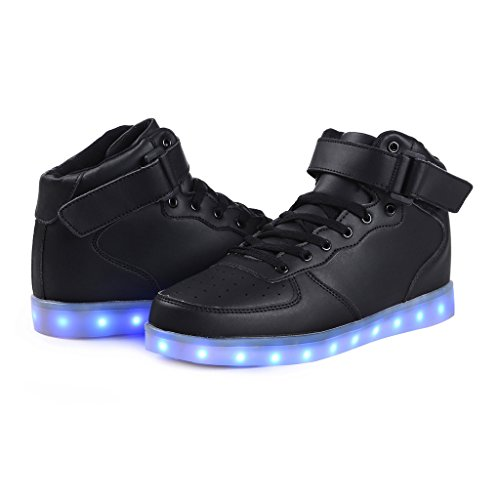 SAGUARO 7 Colors USB Charging LED Lighted Luminous Couple Casual Sport Shoes High Top Sneakers for Unisex Men Women Schwarz