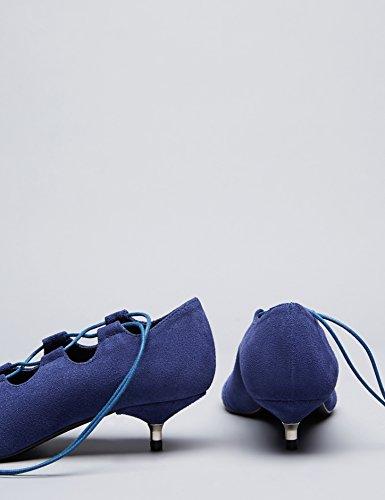 FIND Damen Kittenheels mit Schnüren Blau (Blue)
