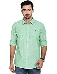 1caf04740305c Khoday Williams Formal Classy Cotton Linen Green Color Shirt Regular Fit