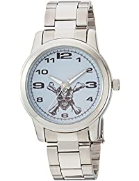 Disney Men's 'Pirates' Quartz Metal and Stainless Steel Casual Watch, Color:Silver-Toned (Model: WDS000374)