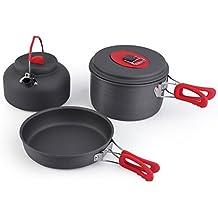 OUTAD Batería de Cocina para Camping (5 piezas), Color Gris,para 2 o 3 Personas