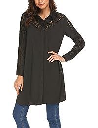 Parabler Damen Hemdkleid mit Spitzen Chiffon Langarm Slim Casual Blusenkleid  Minikleid Tunikakleid Longshirt Bluse Tops 6ca4cb8735