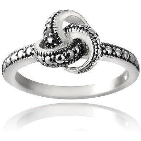 Plata esterlina amor nudo diamante negro acento anillo de compromiso